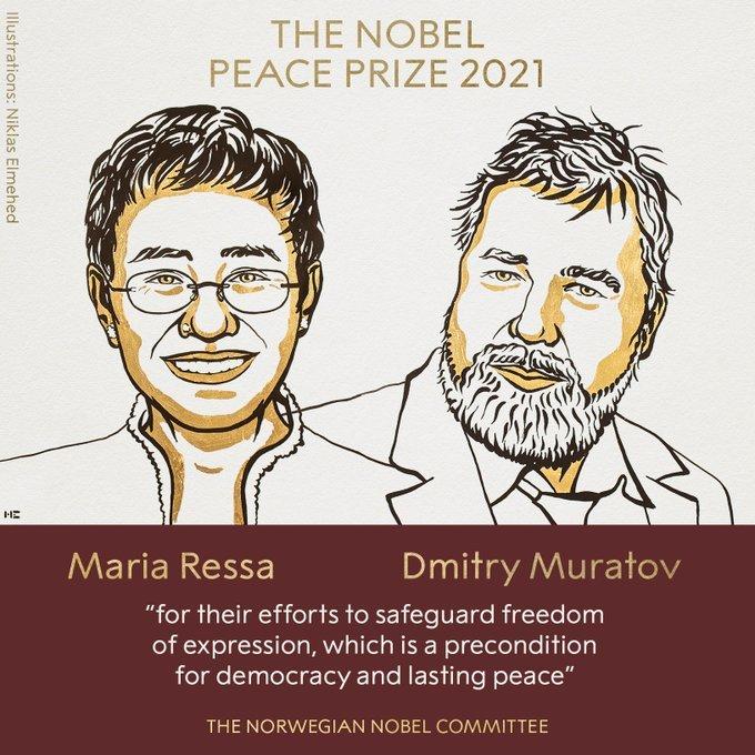 Pour leur combat courageux pour La liberté d'expression : Deux journalistes récipiendaires du Prix Nobel de la Paix